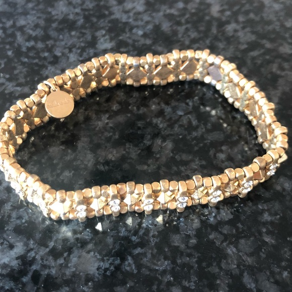 Sparkly Crystal White Gold Plated Stretch Bracelet